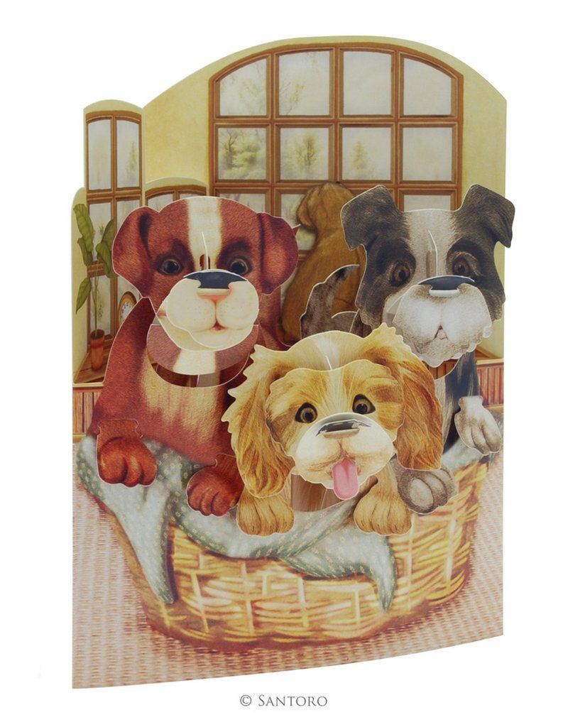 Swing Cards Puppies IN A Basket