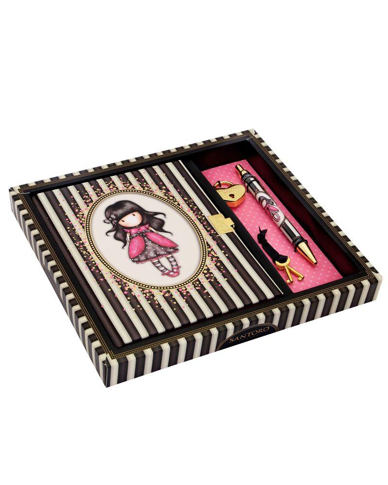 Gorjuss Stripes- Lockable Notebook-Ladybird