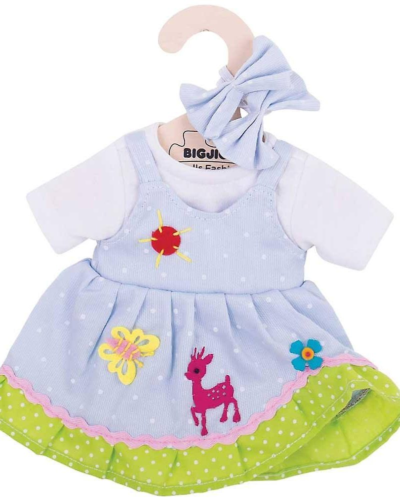 Blue Spotted Dress with Deer